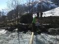 lyngen north peninsula river crossing with splitboards