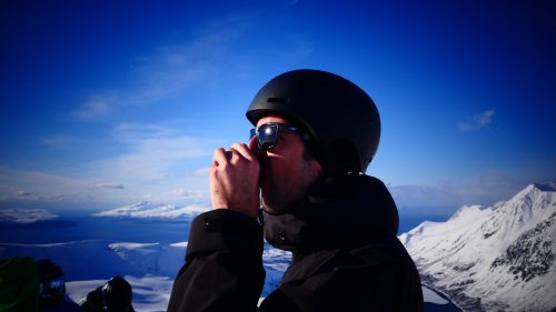 snowboard tea break